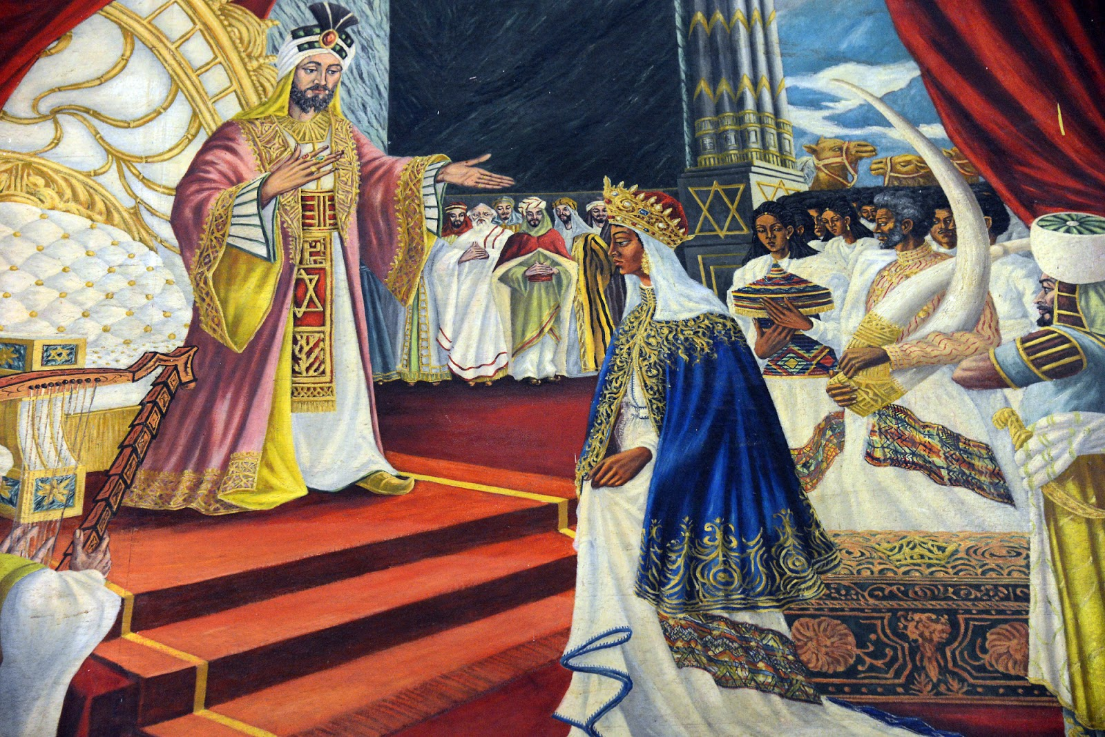 King Solomon greets Queen Makeda of Sheba