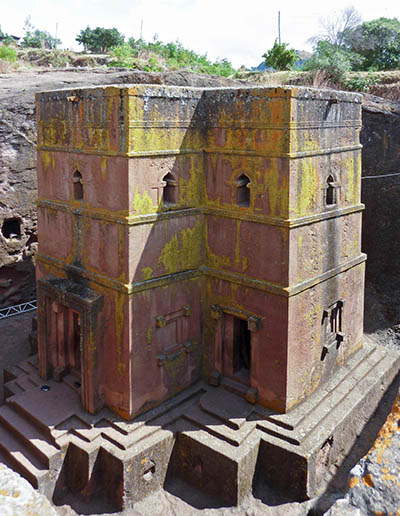 The Church of Saint George in Lalibela, one of many monolithic churches carved from hillsides during the Zagwe Dynasty.