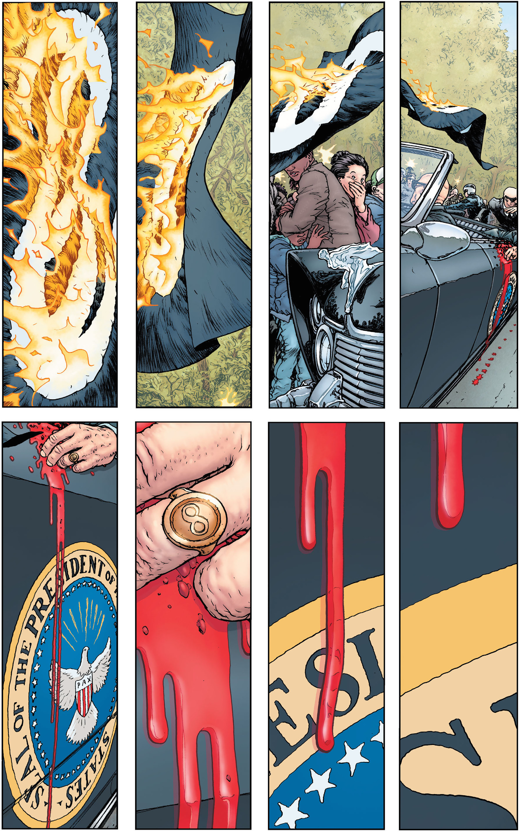 Figure 885: The eight panel grid and recurrent figure eight motif in Pax Americana. (Written by Grant Morrison, art by Frank Quitely and Nathan Fairbairn, ...